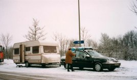Auf der Fahrt in den Winterurlaub 1994